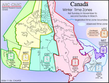 Canada Time Zone Map With Cities.Basic Facts The Canada Guide